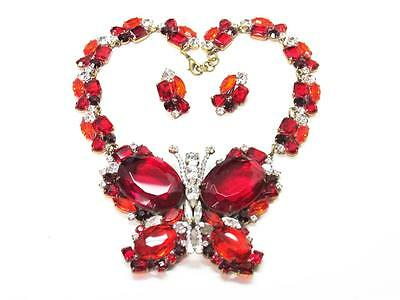 *lilien* Very Large Red Rhinestone Butterfly Necklace & Earrings Lot #2021 Nice