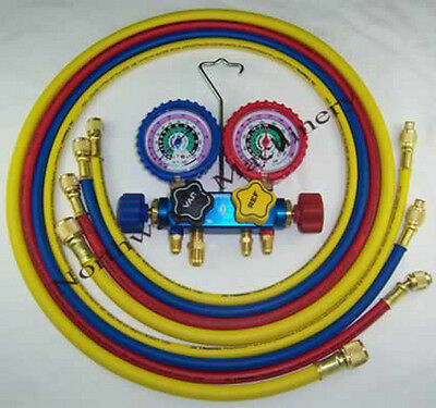 """Imperial 644C Deluxe 4 Valve R410A Manifold Gauges Freon 60"""" Hoses"""