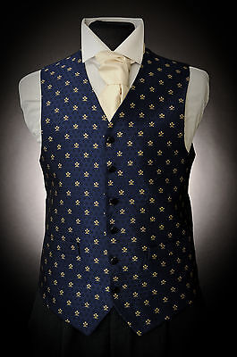 W - 71. Men's Royal Blue with Fleur-de-Lys wedding/suit/formal/party waistcoat