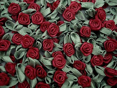 Ribbon Roses Satin Maroon with Green Leaves Pack of 100 Flower FREE POSTAGE
