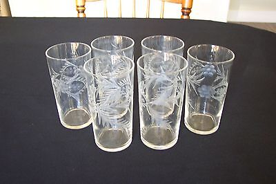 Set of 8 Federal Glass Wheel Cut Etched flower/Vine 12 oz Tumbler FREE SHIPPING