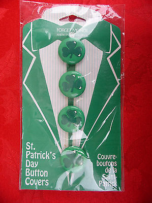 ST PATRICK'S DAY BUTTON COVERS SET OF 4 BY AM GREETINGS (not Pin)-NIP