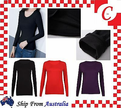 Ladies Women Underwear Winter Warm Fleece Fur Lined Thermal Long Sleeve Top Bulk