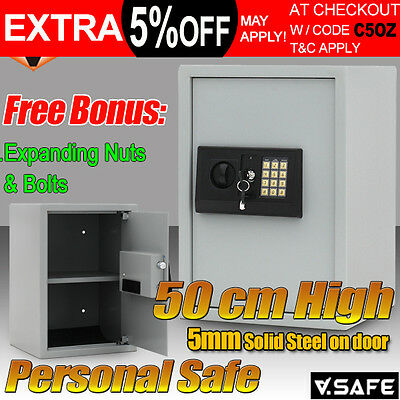 VSAFE Personal Electronic Security Safes Box Access Safe Home Office 50cm WHITE