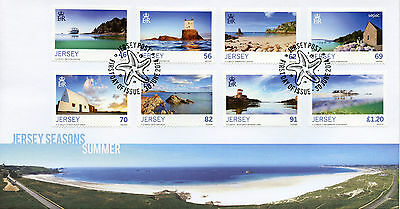 Jersey 2014 FDC Seasons Summer 8v Set Cover St Brelade's Bay Archirondel Tower