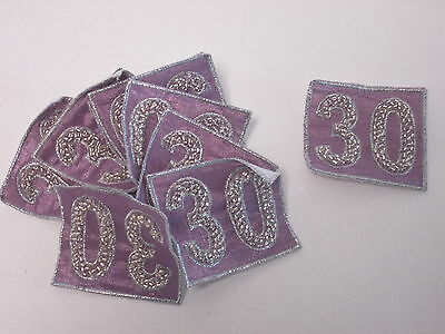 Set of 10 Homemade Card Embroidered Purple Beaded Sequin Motifs Patches #20D103