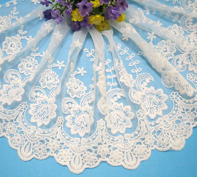 """8""""*1yard Embroidered Off White Tulle Lace Trim sewing/Craft"""