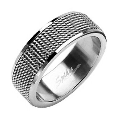 Stainless Steel Modern Wedding Band Ring Bridal Mens Polished Mesh Interlay 8mm