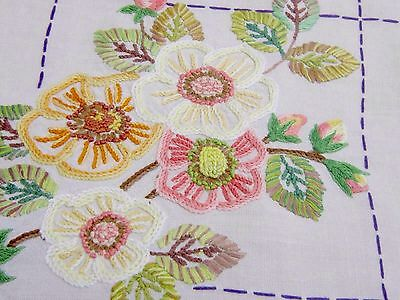 BEAUTIFUL VINTAGE HAND EMBROIDERED WHITE LINEN TABLECLOTH