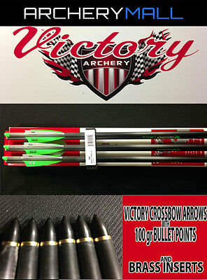 "4/"" FLETCHING 20/""/&22/"" 1//2 MOON NOCKS  ***CLOSEOUT*** 6 VICTORY CROSSBOW ARROWS"