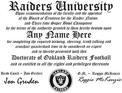 Raiders~Oakland Raiders  Man Cave ~ Certificate ~ Diploma  Great   Gift