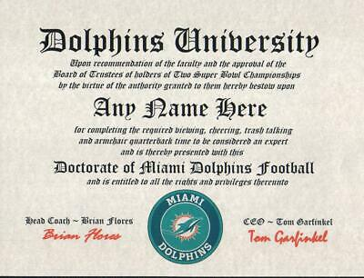 Dolphins~Miami Dolphins~   Nfl Man Cave ~ Certificate ~ Diploma Great     Gift