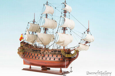SAN FELIPE HANDCRAFTED WOODEN MODEL TALL SHIP BOAT 1690 GIFT DECORATION 95cm