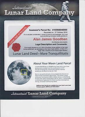 "The Lunar Land Company 5 Acre  Share Certificate ""own A Piece Of The Moon"" !!!"