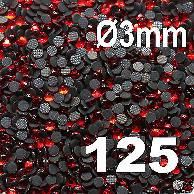 250 Strass thermocollant RHINESTONE hotfix Ø 3 mm ss10 ROUGE N° 125