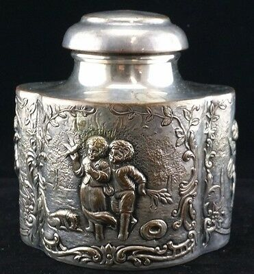 GREAT ANTIQUE E. G. WEBSTER & SON SILVER PLATED TEA CADDY, c. 1890