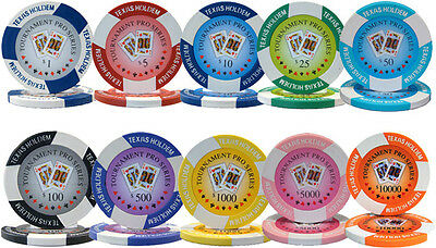 Bulk Lot of 500 Tournament Pro 11.5 Gram Casino Grade Quality Clay Poker Chips
