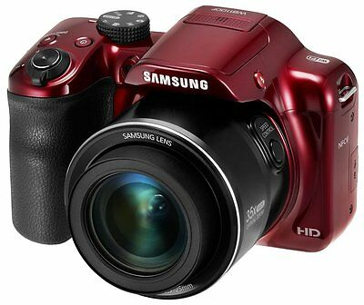 Samsung WB1100F Digital Camera 16.2MP 35x Zoom WiFi HD 720p Movies Video (Red)