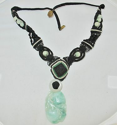 """20"""" Old Chinese Necklace w/ Carved Green & White JADEITE Jade Pendant & Beads"""