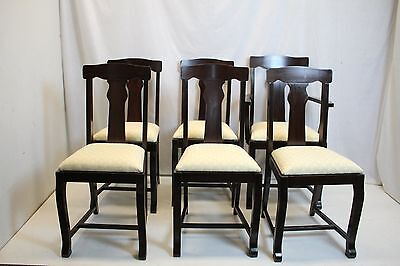 Antique Victorian Set of 6 Walnut Dining Game T-Back Chairs  Ready to Use
