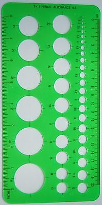 NEW Circle Template Stencil 1 to 36 mm with Metric & Imperial Ruler Edges
