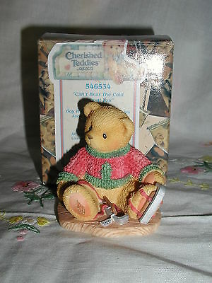 "Cherished Teddies Jerome ""can't Bear The Cold Without You"" Figurine Avon"