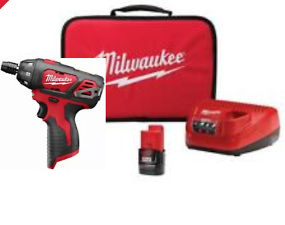 "Milwaukee M12 2401-20 12V Cordless 1/4"" Hex Screwdriver W/battery, Charger & Bag"
