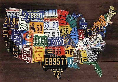 MAP OF THE USA IN CAR REG NUMBER PLATES TRAVEL SOUVENIR FRIDGE MAGNET #fm172
