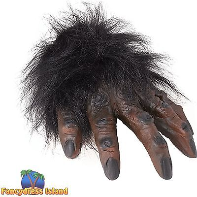 HALLOWEEN HORROR SCARY BROWN HAIRY HANDS GLOVES Mens Fancy Dress