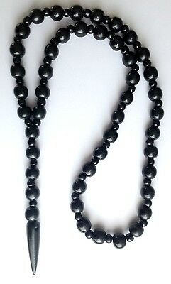 "Ethnic Inspired: Mens Chunky 30"" Long Wood Bead Black Horn 5.5"" Pendant Necklace"