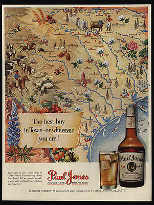 1950 TEXAS Map Art - PAUL JONES Whiskey - VINTAGE AD