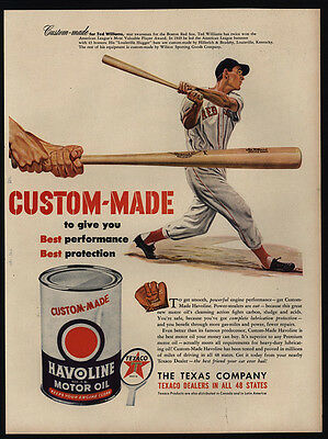 1950 TED WILLIAMS - BOSTON RED SOX - Louisville Slugger Bat  HAVOLINE VINTAGE AD