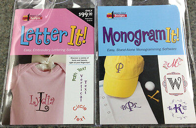 Amazing Designs LETTER IT! & MONOGRAM IT! Embroidery Machine Software Combo