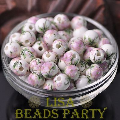 10pcs10mm Round Porcelain Ceramic Loose Spacer Beads Jewelry Findings Light Pink