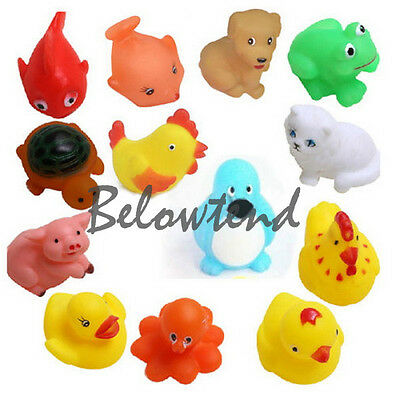 13Pcs Cute Adorable Float Squeeze Sound Baby Bath Play Animals Toys Gift