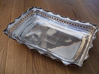 SUPERB LARGE STERLING SILVER BASKET TRAY London 1897 Heavy