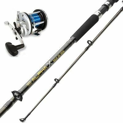 Shakespeare Alpha X 30-50lb Boat Fishing Rod 7 ft + Multiplier Reel With Line
