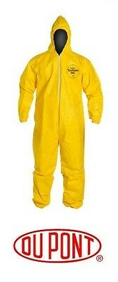 DUPONT TYCHEM TYVEK QC127S COVERALL - Chemical Hazmat Large Yellow Suit (L)
