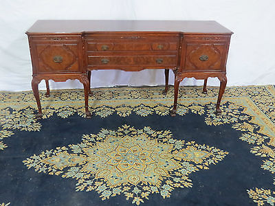 FRENCH SIDEBOARD BUFFET WALNUT EXCEPTIONAL BANDED CARVED