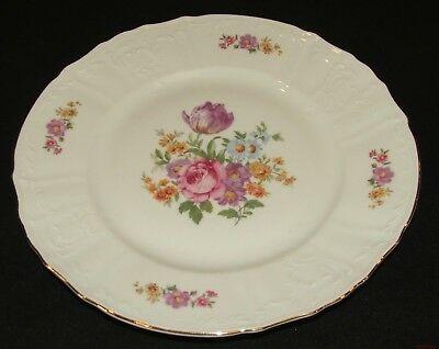 Collectible Floral Bernadotte Porcelain China Dinner Plate Gold Trim