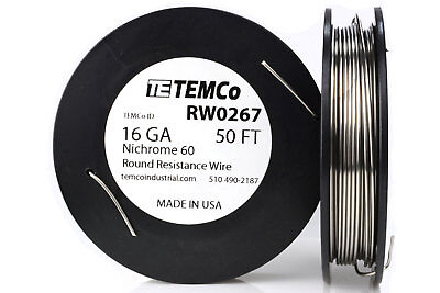 TEMCo Nichrome 60 series wire 16 Gauge 50 Ft Resistance AWG ga