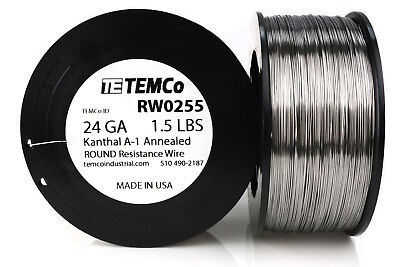 TEMCo Kanthal A1 wire 24 Gauge 1.5 lb (1527 ft) Resistance AWG A-1 ga