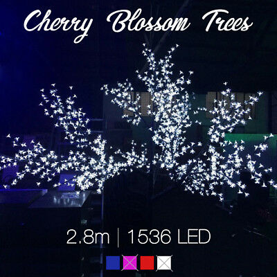 2.8m 1536 LED Cherry Blossom Tree Christmas Icicle lights RED WHITE or BLUE