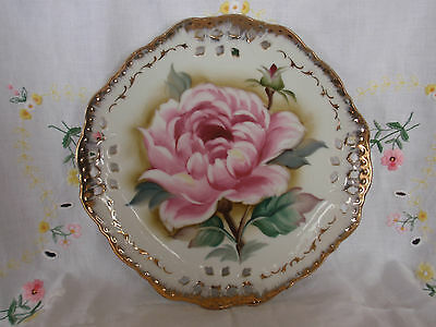 LEFTON PINK ROSE PLATE 60588 HAND PAINTED 8 1/4""