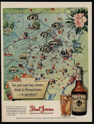 1950 PENNSYLVANIA Map - PAUL JONES Whiskey - VINTAGE AD