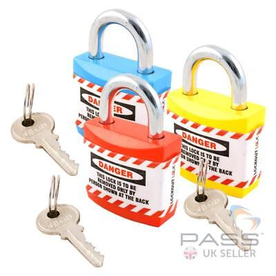 Set of 3 Lockout Tagout Safety Padlocks Non Conductive - Keyed Differently