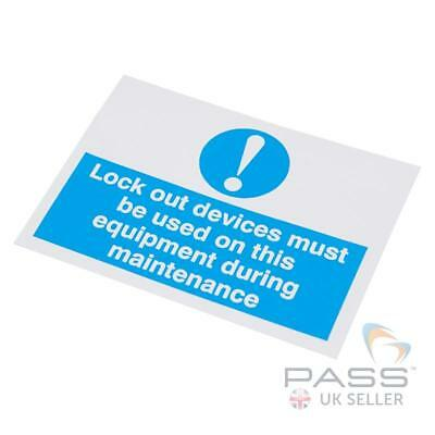 Lockout Devices Must Be Used Self Adhesive Label 55 X 75mm