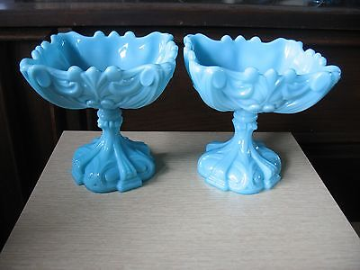 PR Portieux Vallerythal FRENCH Blue Milk Glass Pedestal Compote Bonbon Candy
