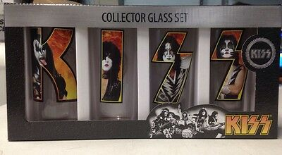 KISS Collector Glass Set - 4 Piece 10 ounce Tumbler Cup Set - New in Box!
