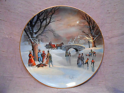 WS George SCENES OF CHRISTMAS PAST Plate #1 HOLIDAY SKATERS Lloyd Garrison
